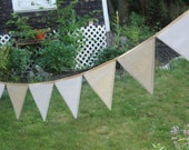 Extra Long Summer Wedding Bunting in White, Ivory, Cream - Wedding Decoration Garland, Banner Party Pennant - cloth fabric flags decor
