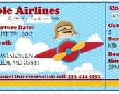 CUSTOMIZE Aviator Boarding Pass Invitations PRINTABLE