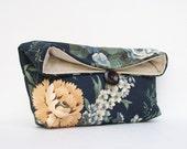 Navy Clutch, Midnight Blue Clutch, Floral Clutch, Yellow, Bridesmaid Gift, Bridesmaid Clutch Purse, Under 25, Makeup Bag