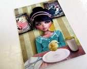 "ACEO ATC - 'Chicken' - Artists Trading Card Mini Print - 2.5x3.5"" Girl and Baby Chick"