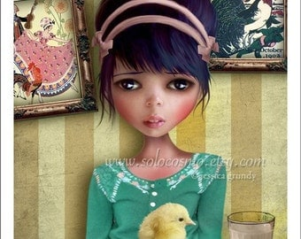 """5x7 Premium Art Print """"Chicken"""" Small Size Giclee Print of Original Lowbrow Artwork - Digital Collage and Painting Girl and Baby Chick"""