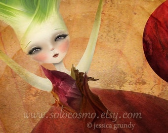 "5x7 Premium Art Print ""Layers"" Small Size Giclee Print of Original Lowbrow Artwork - Red Onion Girl by Artist Jessica Grundy"