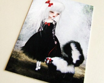 "ACEO/ATC Mini Fine Art Print ""Take Warning"" Artist Trading Card 2.5x3.5 - Lowbrow Art Painting Girl Black and White Skunk Gothic Lolita Red"