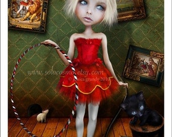 "5x7 Circus Art Print - "" Valetto"" - Little Ringmaster Girl and Black Cat - Small Sized Giclee Print by Artist Jessica Grundy"