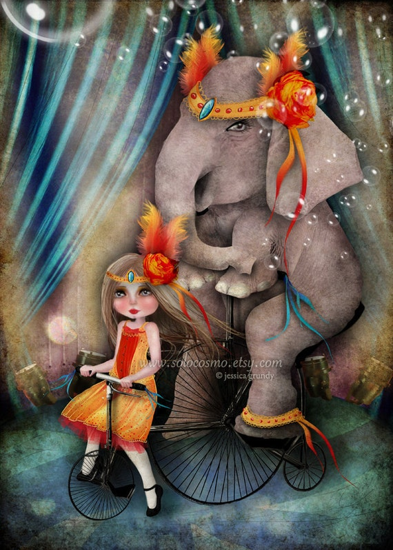 "Circus Art Little Girl And Elephant Print - ""A Bicycle Made for Two"" - Fine Art 8.5x11 or 8x10 Premium Giclee Print"