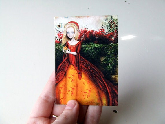"ACEO ATC Artists Trading Card - ""Lady J in the Garden"" - Mini 2.5x3.5"" Fine Art Print by Jessica Grundy"