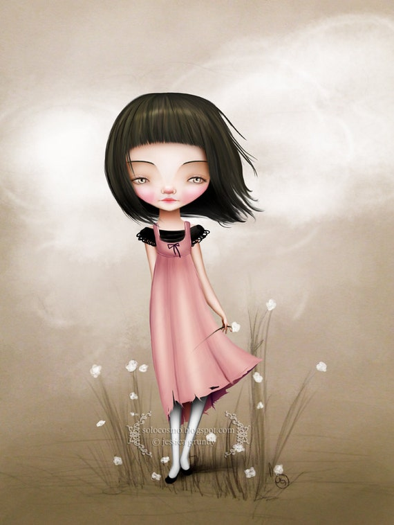 Fine Art Print - 'Hazel' - Medium Sized Print 8.5x11 or 8x10 - Little Girl with White Flowers - Cute Lowbrow Art - Pink Black Cream colors