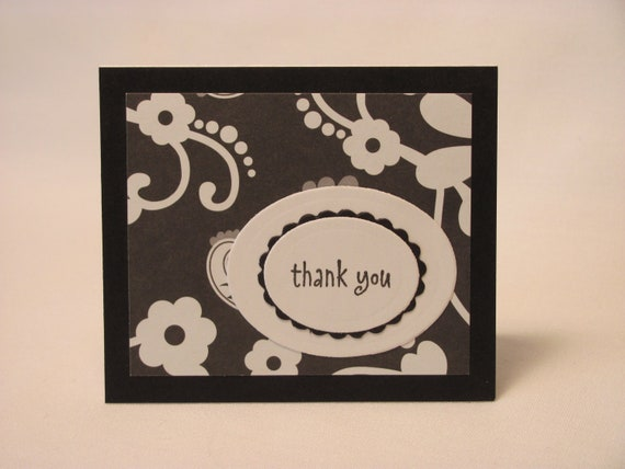 PIF Pay it Forward  Black & White Thank You Mini Cards - Set of 5