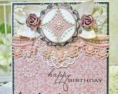 Scalloped Edge Shabby Style HAPPY BIRTHDAY Stitched Handmade Card & Envelope