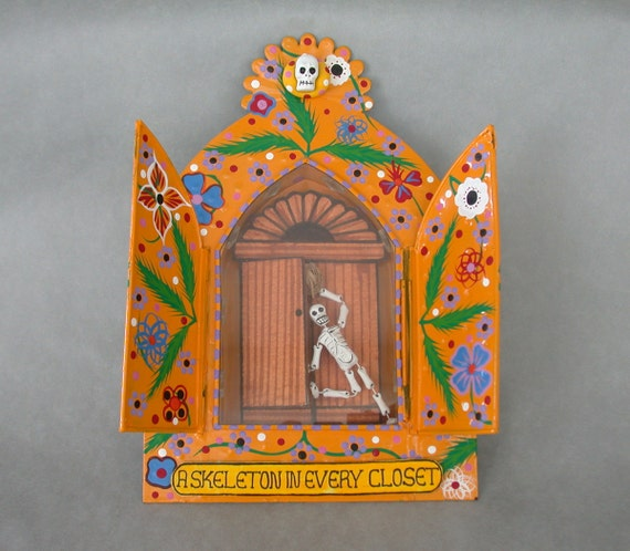 A Skeleton in Every Closet: Mexican Tin Nicho Folk Art Diorama w/ Hinged Doors Day of the Dead