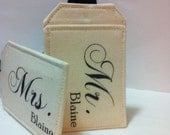 Wedding Gift, Custom Luggage Tags, Just Married, Bride Groom, Mr. Mrs. Choose your Color great going away gift