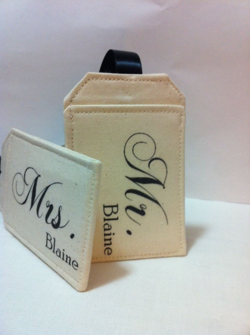 Personalized Mr and Mrs Luggage Tags Wedding Gift Custom