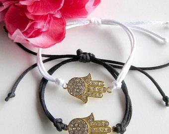 hamsa hand bracelet - women's gift - rhinestone bracelet - hand of fatima - arm candy - friendship evil eye bracelet - bohemian jewelry