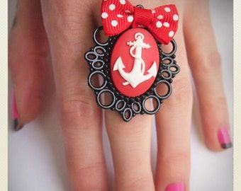 Large Old School Pin Up- Anchor ring with red bow
