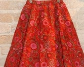 Red Floral Twirl Skirt - liberty of london fabric- girls kids fall winter holiday fashion - ready to ship - size 6 7 8