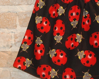 Modern A-line Skirt - Red Ladybugs - toddler girls clothing - fall fashion - made to order - sizes 2T 3T 4 5 6