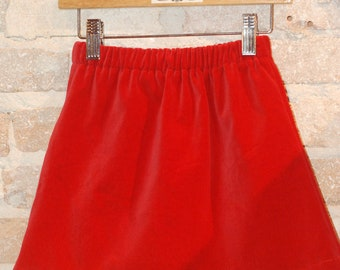 Modern A-line Skirt - Red Cotton Velveteen - Christmas - toddler girls clothing - kids winter fall fashion - ready to ship size 4 4T