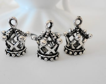 Petite Silver Crown Charms bead faceted  Small dangle beads jewelry making findings