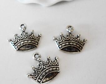 FREE SHIP Petite Silver Crown Charms