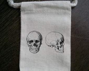 Double Skull Muslin Party Favor Bag