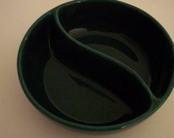 Vintage forest green slotted bowl