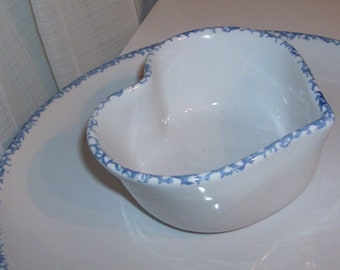 Country Blue Stoneware Veggie and Dip Serving Tray