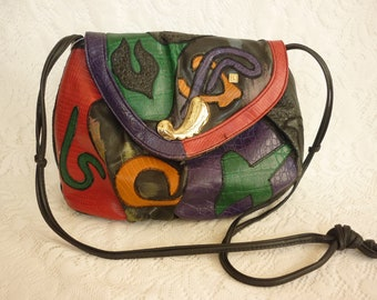 80s New Wave Abstract Cross Body / Clutch Purse  NAS