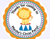 Custom Circus Birthday Labels, Circus Lion Stickers - Personalized for YOU