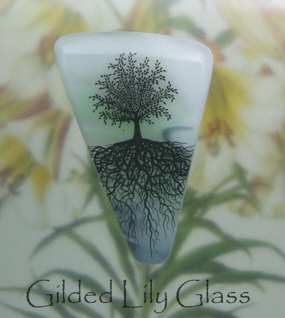 Tree in the Mist Pin, Fused Glass Jewelry Handmade in North Carolina