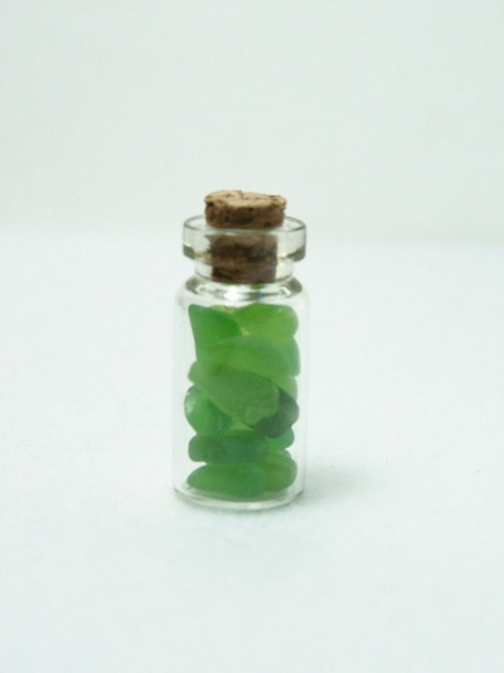 Vial of  Green Sea Glass, Glass Embellishment, Natural Glass, Glass for Jewelery