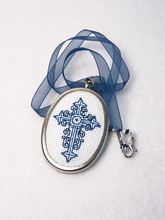 RESERVED-Cross Stitch Embroidered Necklace, Embroidered Pendant, Needlework Necklace, Handstitched - Blue Cross