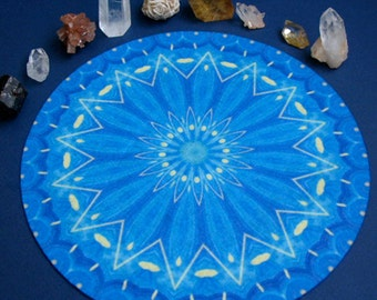 Wheel of Lade Azul Mandala, Crystal Grid Altar Cloth