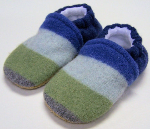 Recycled Wool Toddler Slippers, Beach Stripes sz 2T