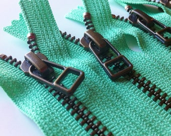 YKK metal zippers with antique brass finish and DHR style pull- (5) pieces - Mint Ice Cream 873- Available in 6,7,9,10,12,14 and 16 Inch
