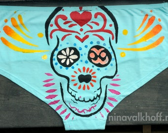 Light blue undie 'Dia de los muertos', available in sizes Small, Medium and Extra Large