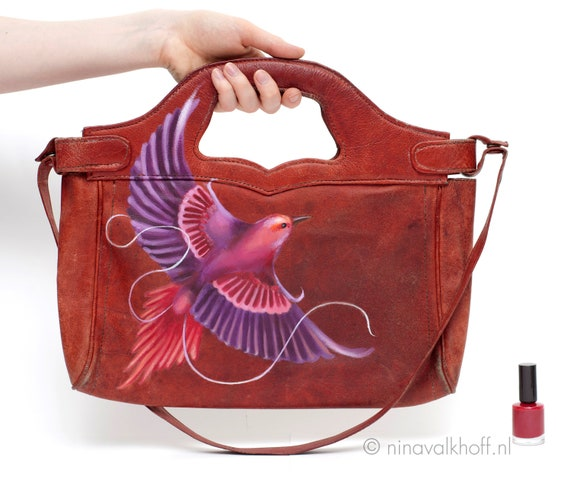 Vintage leather bag 'Sweet Desire', hand-painted, seventies