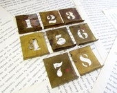 Vintage Brass Stencil Numbers - Set of 1-8