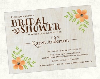 Rustic Bridal Shower Invitation, Country Bridal Shower, Floral Bridal Shower, Flower, Wood,  Printable, Digital File