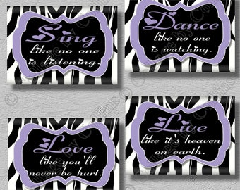 Zebra Wall Decor zebra print smile dream live love laugh art wall decor