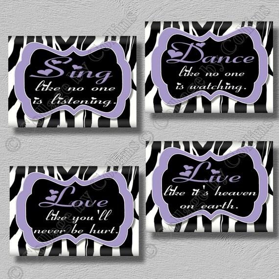 Purple zebra print wall art decor quote girls room inspirational dance