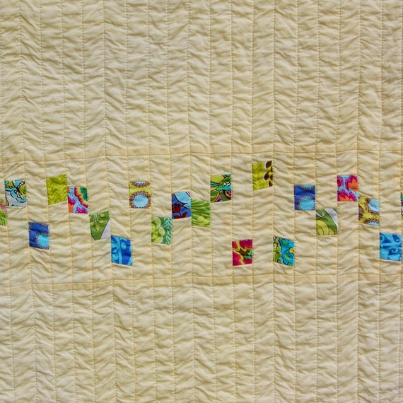Yellow Little Bits Modern Patchwork Baby Crib Quilt / Blanket - READY TO SHIP