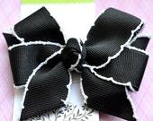 Black with White Crochet Edge Classic Diva Bow