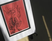 Krampus Linocut Black on Red