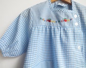 Vintage Sky Blue Gingham Girl Apron Dress-Eighties Embroidered Dress-Retro Children Clothing