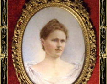 Antique handpainted Portrait Redhead Framed 19th century miniature painting victorian redhead
