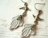 Sage Leaves - Lace Earrings, Crystal Earrings, Brass Earrings, Bird Earrings, Leaf Earrings