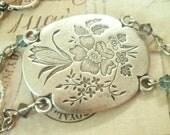 Vintage Dragonfly - Silver Bracelet, Dragonfly Bracelet, Leaf Bracelet, Flower Bracelet