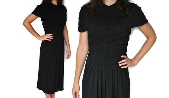 1930s Black Fringe Dress / XS-S