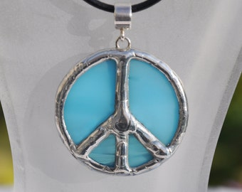 Baby blue stained glass peace pendant