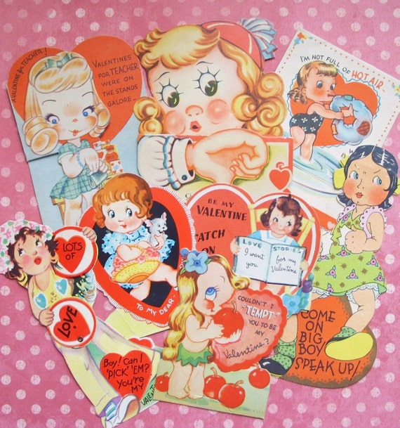 Vintage Little Girls Valentine Card Lot 1930s to 50s